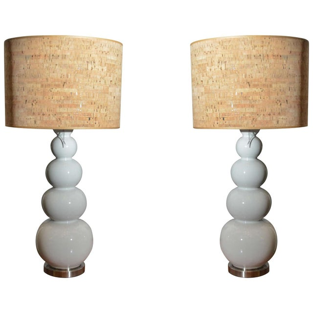 Stacked White Glass Gourd Lamps - A Pair - Image 1 of 7