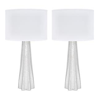 Silver Leaf Murano Pulegoso Glass Lamps For Sale