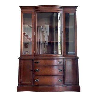1940s Bow Front Mahogany China Cabinet by Bassett For Sale
