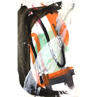 2020 Orange and Black Abstract Painting on Paper For Sale