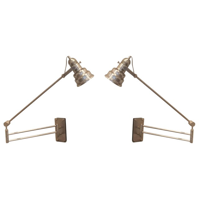 Articulated Industrial Cone Wall Lamps - A Pair - Image 1 of 7