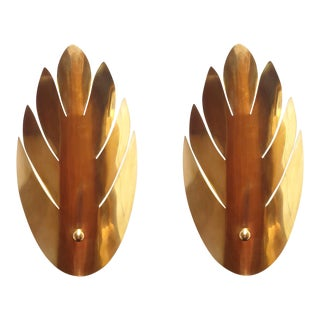 Brass Stylized Leaf Mid Century Modern Sconces, France 1970s, 2 Pairs For Sale