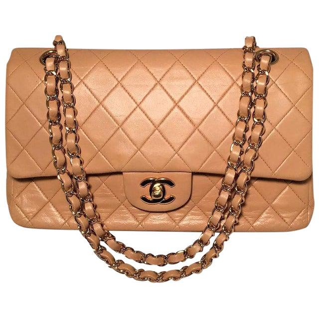 Chanel Vintage Tan 10 Inch 2.55 Double Flap Classic Shoulder Bag For Sale