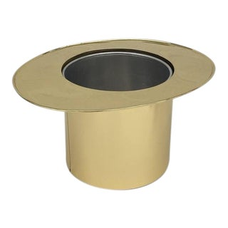Italian Brass Top Hat Ice Bucket For Sale