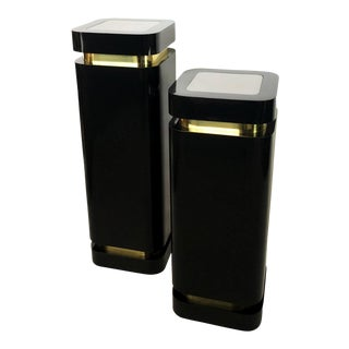 Karl Springer Style Hollywood Regency Black and Brass Pedestals - A Pair For Sale