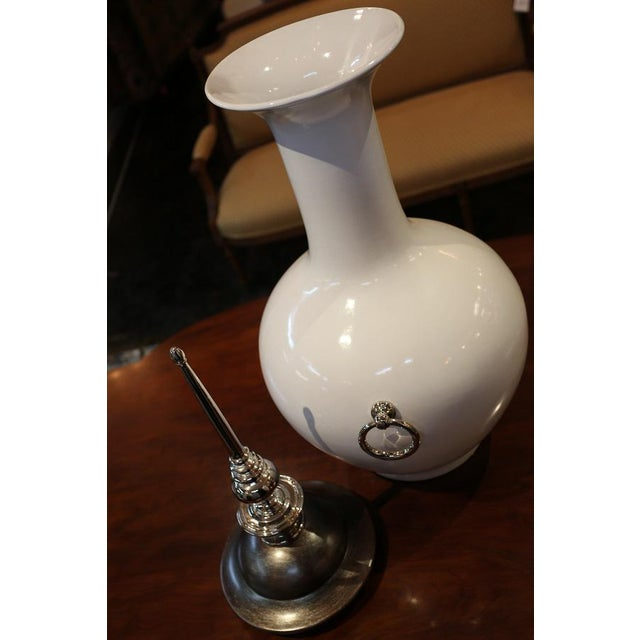 Silver Leaf Lidded White Ceramic Vase Chairish