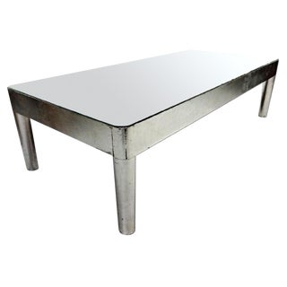 "Vintage 60"" Swedish Mid-Century Modern Silver Mirror Glass Top Coffee Table For Sale"