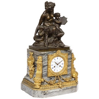 Thomire & Cie, French Gilt and Patinated Bronze and Marble Figural Mantel Clock For Sale