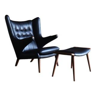Hans J. Wegner Black Leather Papa Bear Chair & Ottoman for a.p. Stolen For Sale
