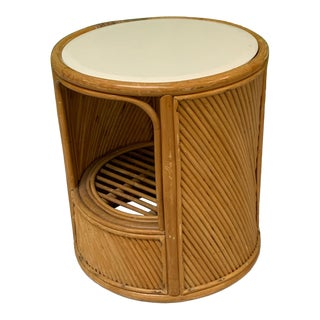 Split Reed Rattan Drum End Table in the Manner of Gabriella Crespi For Sale