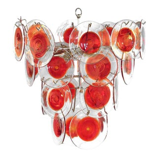 Vistosi Murano Red Glass Disk Chandelier For Sale