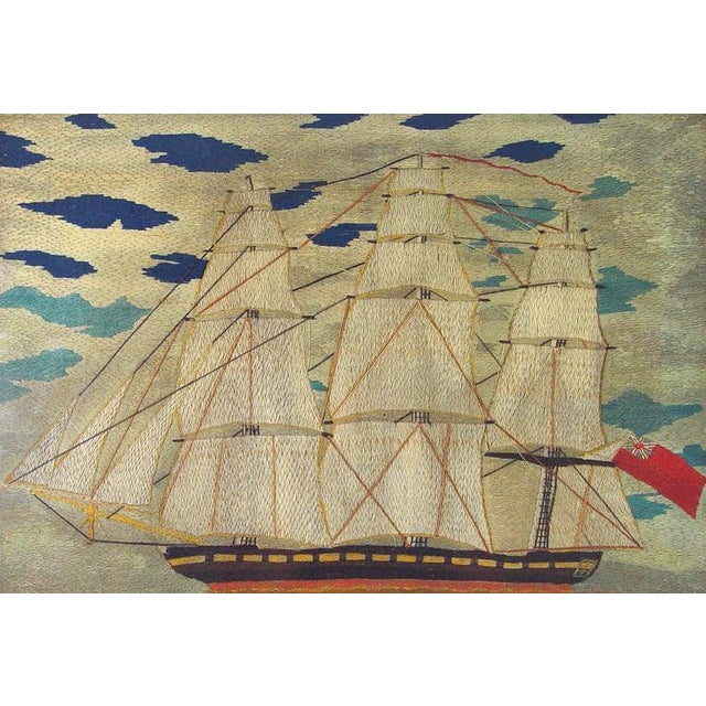 English Traditional Sailor's Woolwork Woolie Large Picture of a Ship, Circa 1855-1865. For Sale - Image 3 of 3