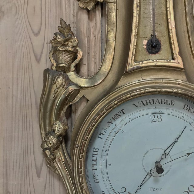 Enamel 18th Century Giltwood Hand Carved Barometer - Thermometer For Sale - Image 7 of 11