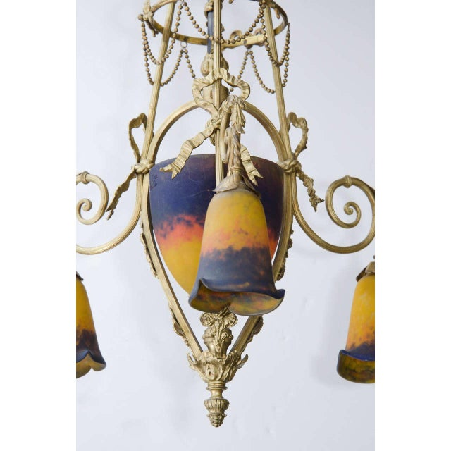 White Exquisite Art Deco Bronze and Art Glass Chandelier by Muller Freres For Sale - Image 8 of 9