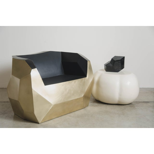 Black Hand Repousse Facet Lounge Chair in Brass W/ Black Lacquer by Robert Kuo, Limited Edition For Sale - Image 8 of 9