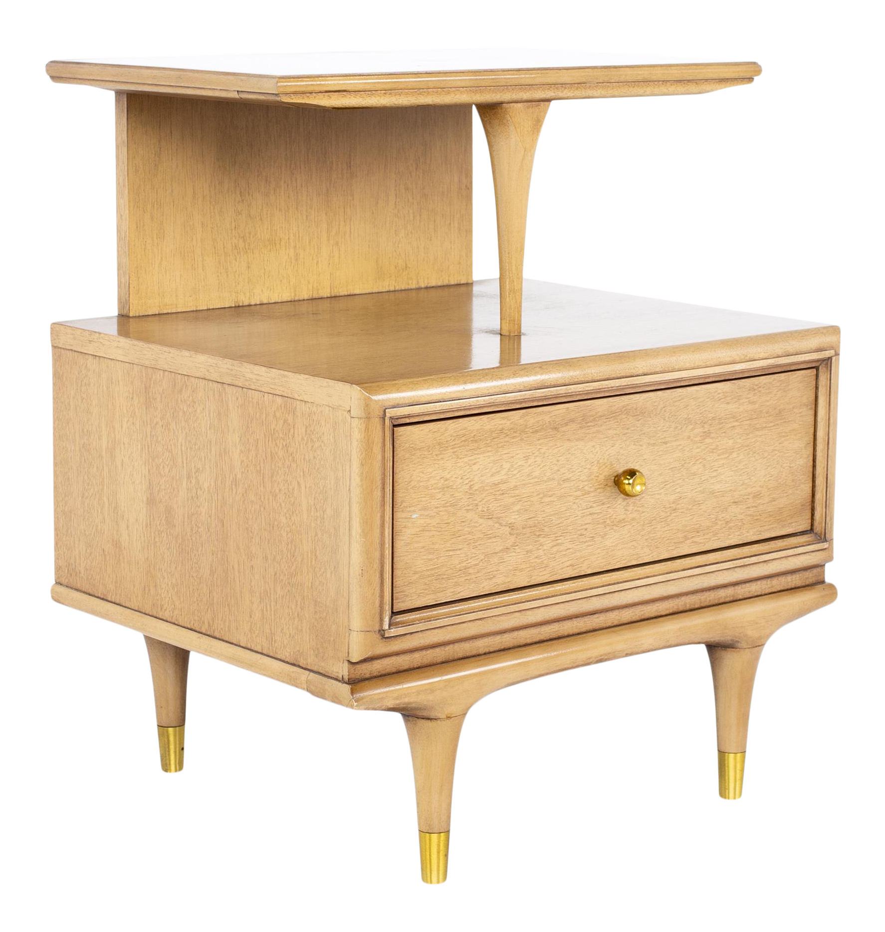 a Pair FLASH SALE Step-Table Style Single Drawer End Tables Mid-Century Kent Coffey AquaMint Nightstands
