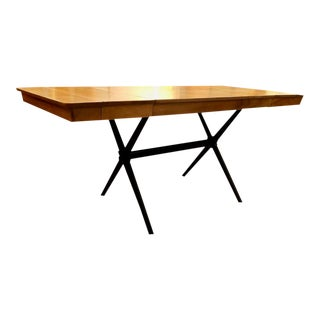 Mid Cenrtury Modern X Base Dining Table W/ 2 Leaves in the Manner of Robsjohn Gibbings For Sale