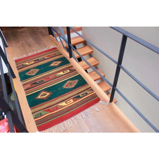 Mexican Pedal-Loom Green Rug - 2′7″ × 4′10″ For Sale - Image 5 of 6