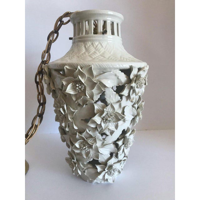 1960's Italian Blanc De Chine Floral Ceramic Pendant Lights For Sale - Image 4 of 13