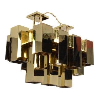 Mid-Century Modern Brutalist Chandelier, Sciolari Lightolier Era For Sale