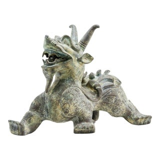 Late 20th Century Vintage Lawrence & Scott Verdigris Bronze Laughing Dragon Figurine For Sale