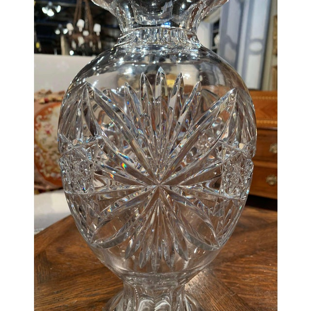 Midcentury Clear Cut Glass Vase With Foliage and Star Motifs For Sale In Dallas - Image 6 of 10