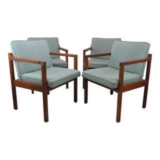 1970s Scandinavian Modern Jens Risom Walnut Dining Arm Chairs - Set of 4 For Sale