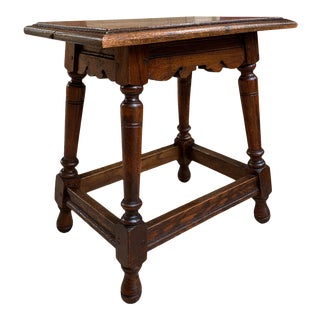 Antique English Oak Stool Pegged Joint Side End Table 20th Century For Sale