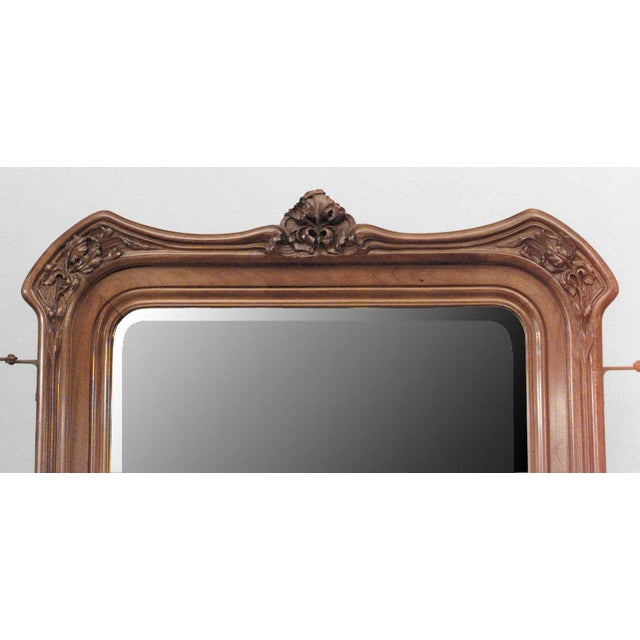 French Art Nouveau Walnut 3 Way Cheval Mirror For Sale - Image 9 of 10