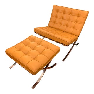 Knoll Studio Volo Tan Leather Barcelona Chair and Ottoman For Sale