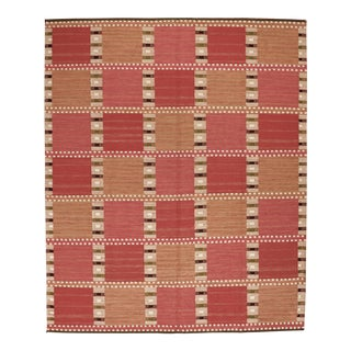 Swedish Design Hand Woven Wool Flatweave Rug - 8′4″ × 10′1″ For Sale