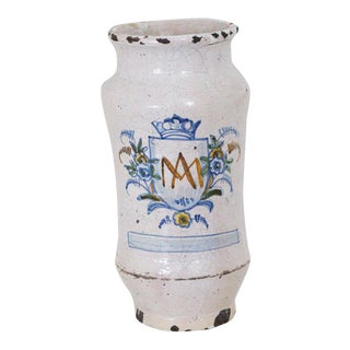 18th Century Vintage Tin-Glazed Earthenware Alborello Depicting Auspice Maria Vase For Sale