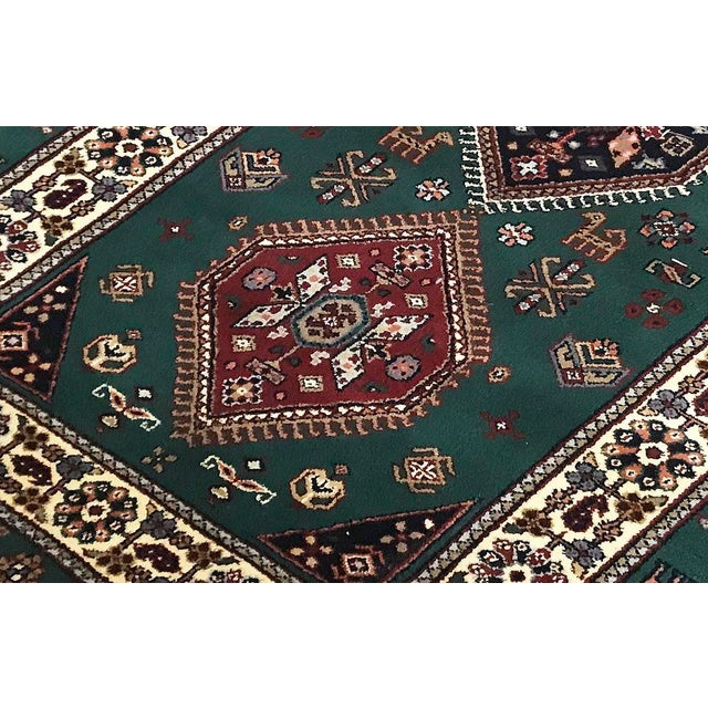 Traditional Transitional Hand Woven Green and Ivory Wool Rug 2'8 X 7'2 For Sale - Image 3 of 4