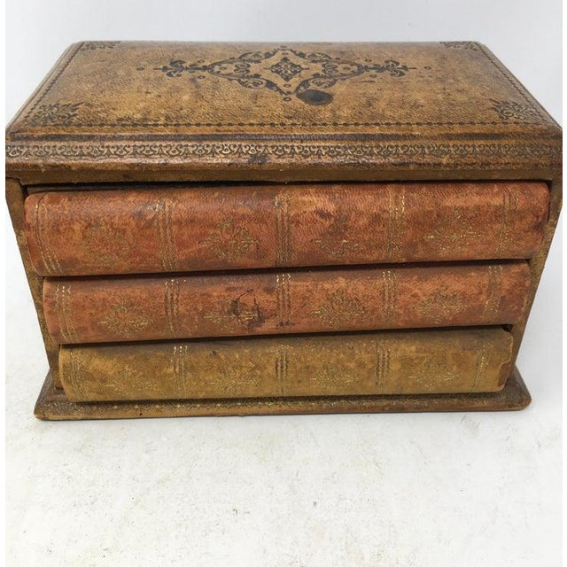 Wood Vintage French Book Style Cigarette Box Desk Organizer For Sale - Image 7 of 12