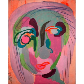 "Contemporary Abstract Portrait Painting ""This Is Where I Met Her"" For Sale"