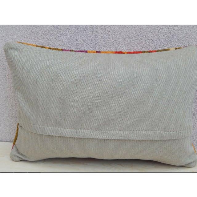1990s Vintage Turkish Kilim Lumbar Pillow For Sale - Image 5 of 6