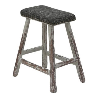 Sarreid Ltd. Vintage Upholstered Stool For Sale