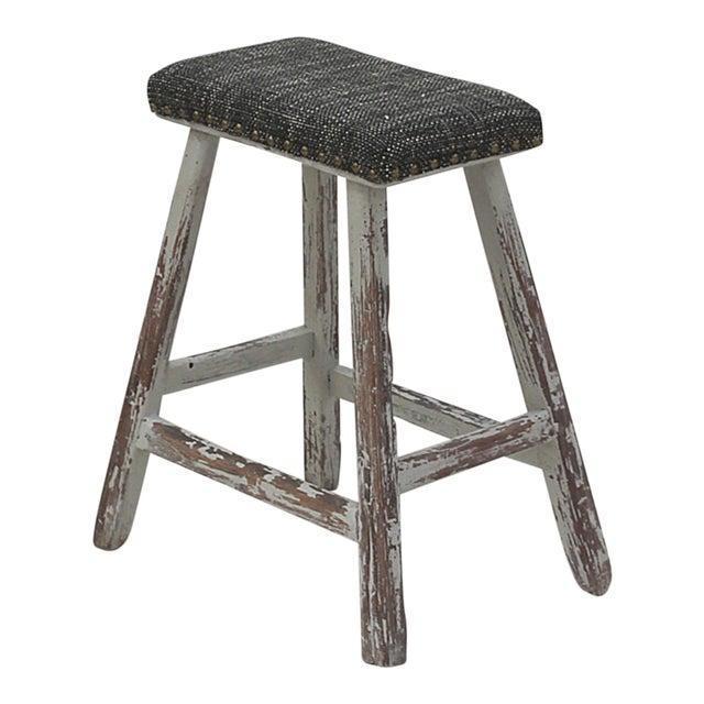 Sarreid Ltd. Vintage Upholstered Stool For Sale