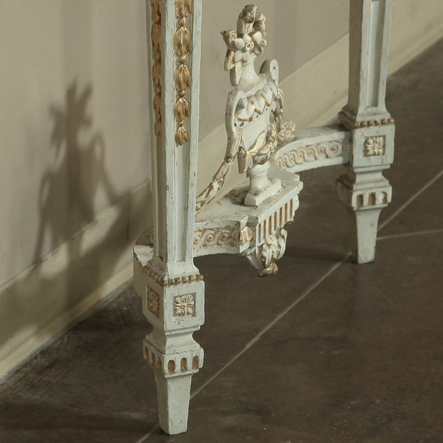 White 19th Century Swedish Neoclassical Marble-Top Painted Console For Sale - Image 8 of 12