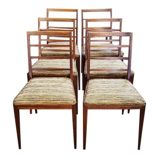 Set of Six Mid Century Modern Teak & Upholstered Dining Chairs C.1960s For Sale