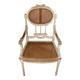 Louis XVI Style Lacquered Back and Seat Chair For Sale