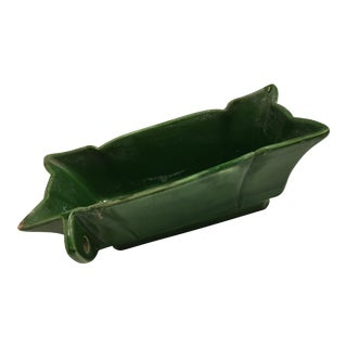 Green Glazed Ceramic Rectangular Bowl