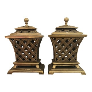 Vintage Solid Brass Lattice Decorative Urn With Lid - a Pair For Sale