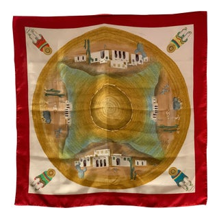 Wonderful Gucci Southwestern Motif Silk Scarf For Sale