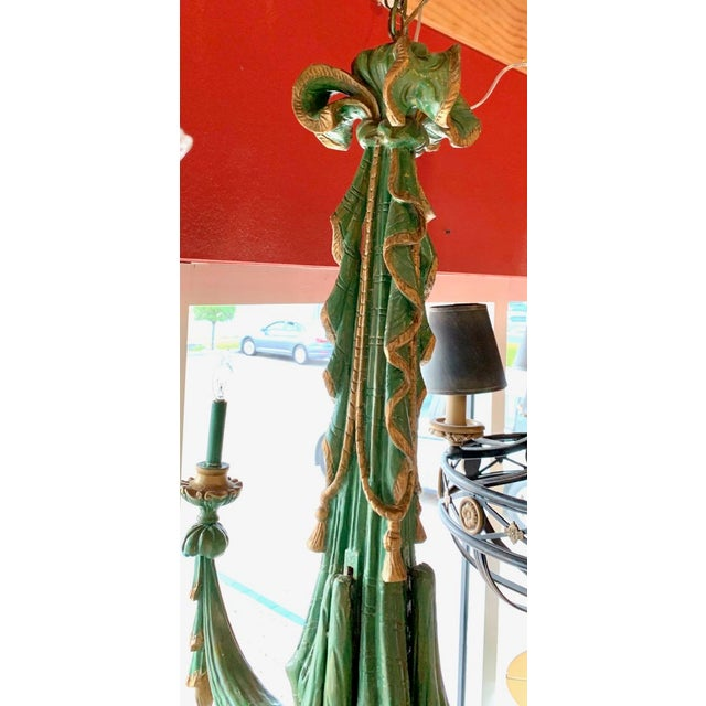 Mid 20th Century Vintage Italian Chandelier Hand Carved Wood For Sale - Image 4 of 10
