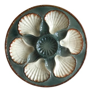 1900s French Majolica Oyster Plate For Sale