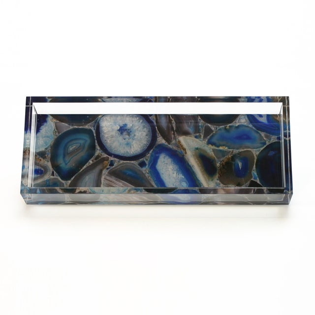 DWM | MALOOS Dwm | Maloos Lucite Blue Agate Pattern Tray For Sale - Image 4 of 4