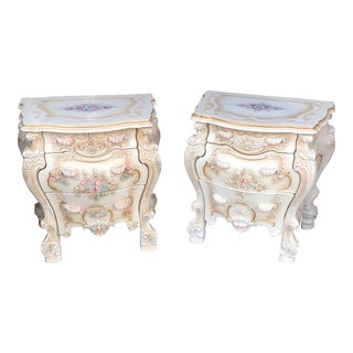 Vintage Rococo Italian Rose Side Tables - a Pair