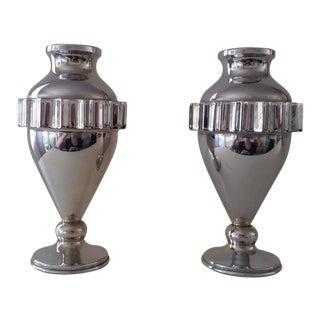 Vintage Metal Deco Style Vases - A Pair