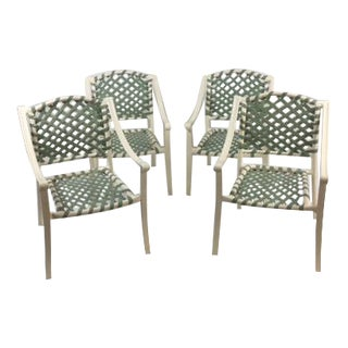 "Restored Child Size ""Tropitone"" Green Patio Chairs - Set of 4"